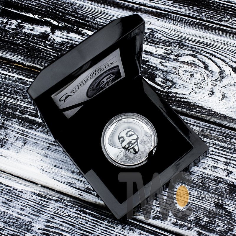 Cook Islands 2017 5$ Historic Guy Fawkes Mask II 1 oz Black Proof Silver Coin