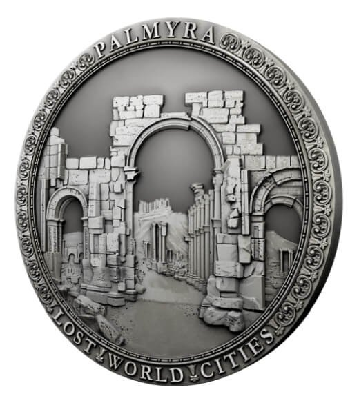 Palmyra Lost World Cities 2 oz Antique finish Silver Coin 2$ Niue 2021