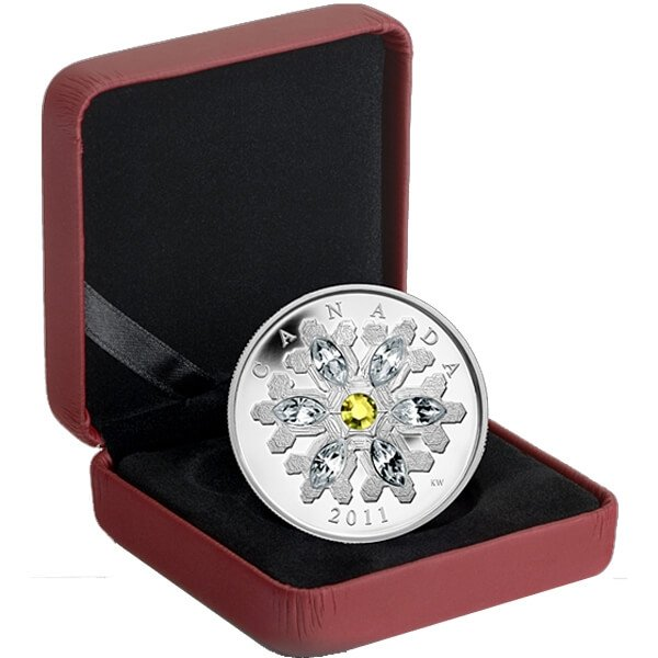 Canada 2011 20$ Topaz Snowflake (2011) Proof Silver Coin