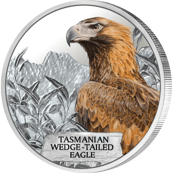 Tuvalu 2012 1$ Tasmanian Wedge-Tailed Eagle Endangered and Extinct Proof Silver Coin