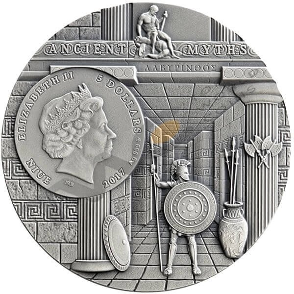 MINOTAUR Ancient Myths II 2 oz Antigue finish Silver Coin Niue 5$ 2017