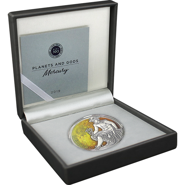 Mercury Planets and Gods 3 oz Antique finish Silver Coin 3000 Francs CFA Cameroon 2019