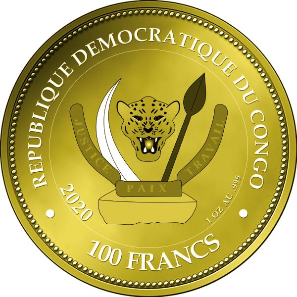 Diamond Tiger 1 oz BU Gold Coin 100 Francs D.R. Congo 2020