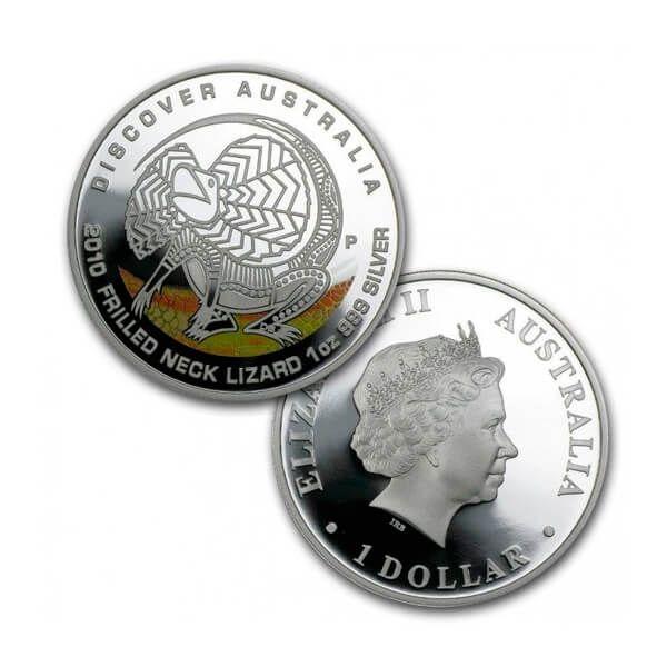 Discover Australia - Neck Lizard Colored Proof Silver Coin 1$ Australia 2010