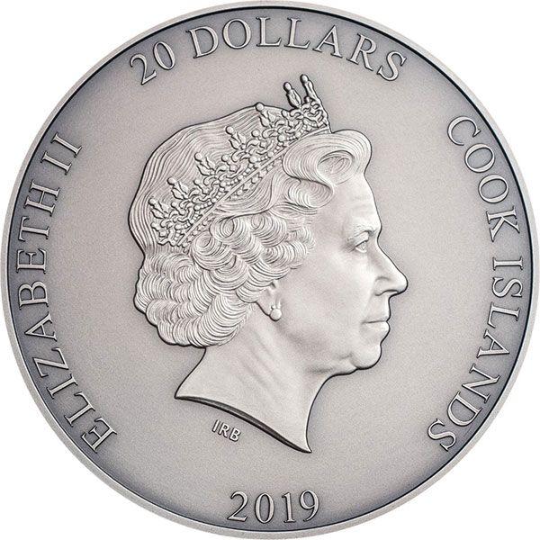 Zhong Kui Asian Mythology 3 oz Antique finish Silver Coin 20$ Cook Islands 2019