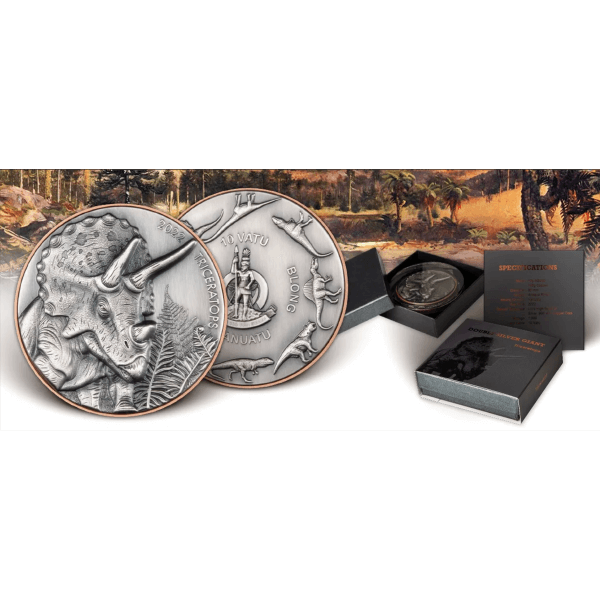 Triceratops Double Silver Giant 145 g Cooper & 10 g Antique finish Silver Coin 10 Vatu Vanuatu 2021
