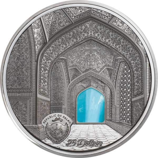 Isfahan Tiffany Art 5 oz Black Proof Silver Coin 25$ Palau 2020