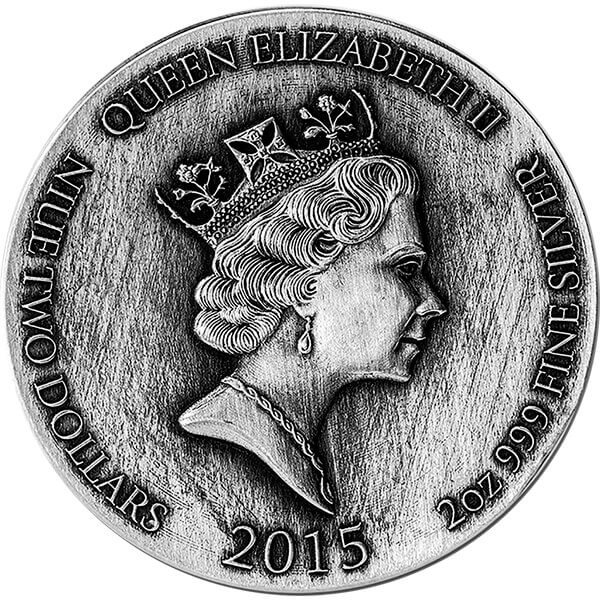 Biblical Coin  David & Goliath 2 oz BU Silver Coin 2$ Niue 2015