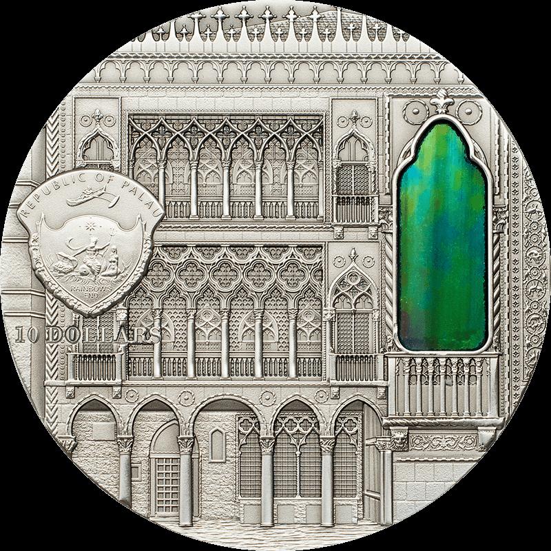 Venetian Gothic Tiffany Art 2 oz UNC Silver Coin 10$ Palau 2013