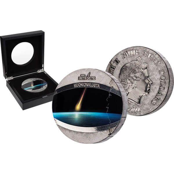 Muonionalusta Meteorite 1 kilo UNC Pure Meteorite Coin 50$ Niue 2021