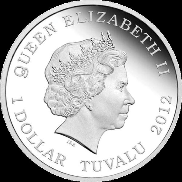Tuvalu 2012 1$ Black Rhinoceros Wildlife in Need Proof Silver Coin