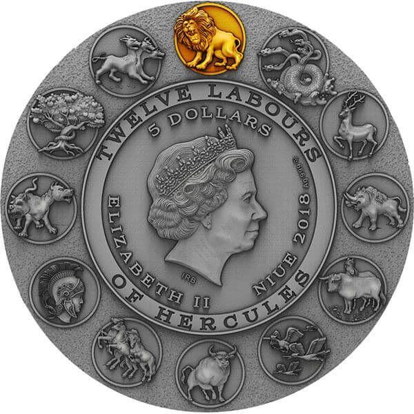 Nemean Lion Twelve Labours of Hercules 2 oz Antique finish Silver Coin 5$ Niue 2018