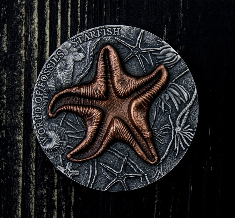 Starfish World of Fossils 2 oz Antique finish Silver Coin 2$ Niue 2019