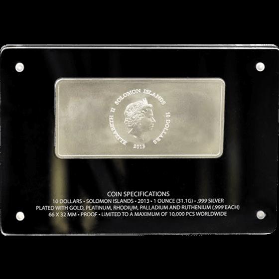 Solomon Islands 2013 10$ Precious 6 in 1 (Six Precious Metals United In One Coin) Proof Silver Coin