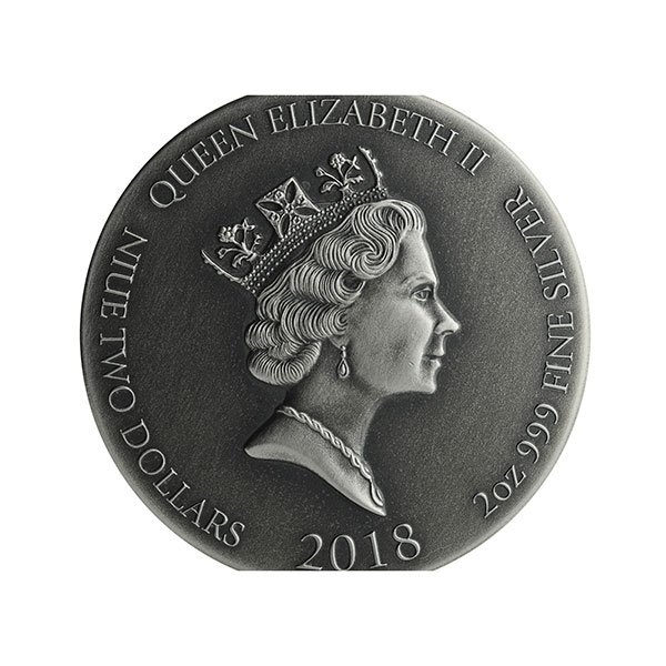John the Baptist Biblical Coin 2 oz  BU Silver Coin 2$ Niue 2018