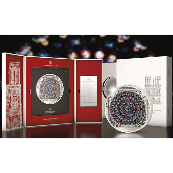 Cook Islands 2015 35$ Notre Dame Giant Windows of Heaven 10 oz Proof-Like Silver Coin