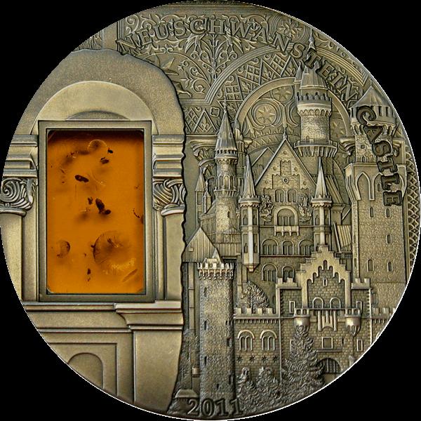 Castle Neuschwanstein Mineral Art III UNC Silver Coin 10$ Palau 2011