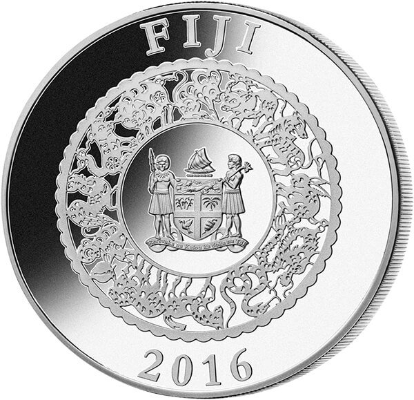 Fiji 2016 10$ Year of the Monkey  Lunar 2016  Proof Silver Coin with Pearl