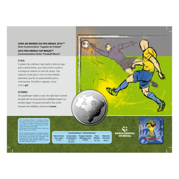 Brazil 2014 2 Reais - Goal 2014 FIFA WORLD CUP Brazil Cu/Ni  Coin