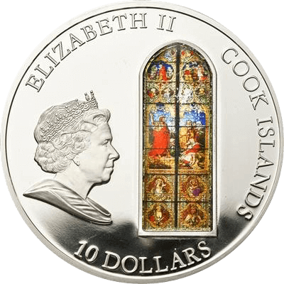 Cologne Windows of Heaven Proof Silver Coin 10$ Cook Islands 2010