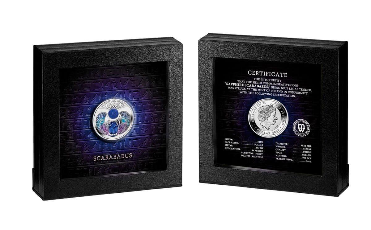 Sapphire Scarabaeus Proof Silver Coin 1$ Niue 2020