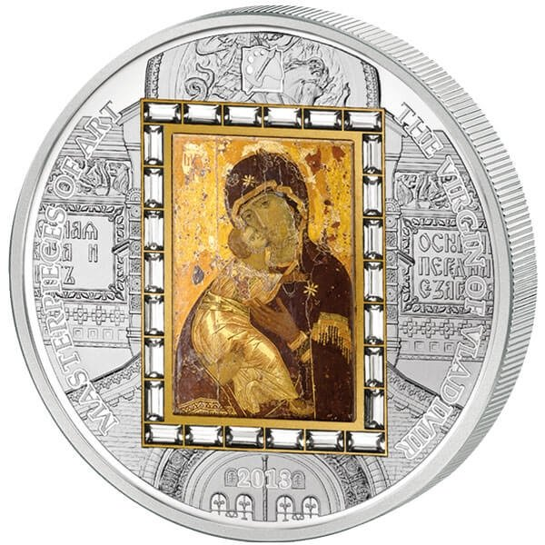 "Cook Islands 2013 20$ ""Virgin of Vladimir"" Masterpieces of Art 3 Oz Proof Silver & Gold Coin"