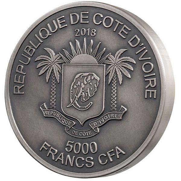 Mauquoy Haut Relief Elephant Big five 1 Kilo Antique finish Silver Coin 10000 francs Ivory Coast 2018