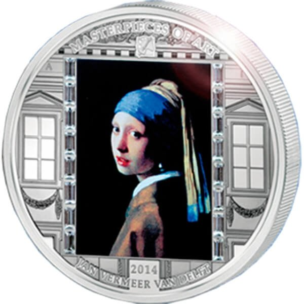 """""""Girl with a Pearl Earring"""" Vermeer  Masterpieces of Art 3 oz Proof Silver Coin  20$ Cook Islands 2014"""