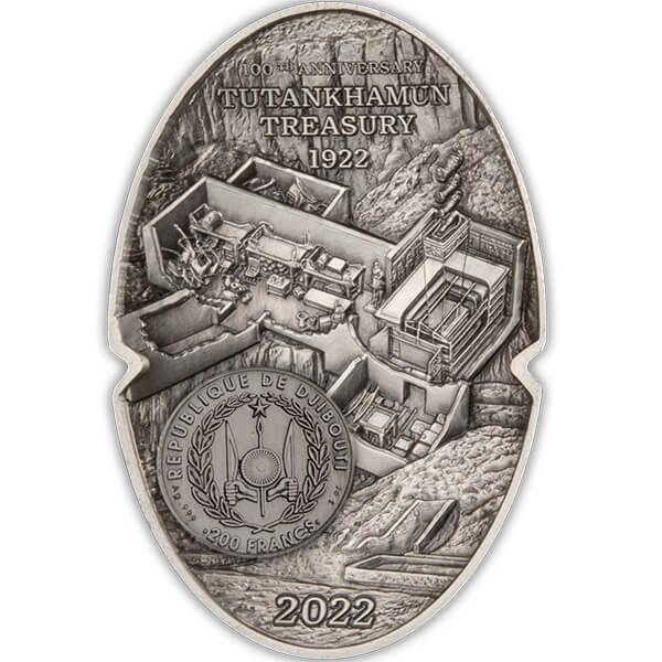 The Mask of Tutankhamun 100th Anniversary 3 oz Antique finish Silver Coin 200 Francs Djibouti 2022