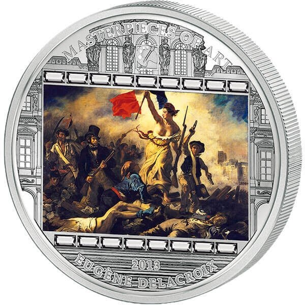 """Cook Islands 2013 20$ """"Liberty Leading the People"""" Eugene Delacroix Masterpieces of Art 3 oz Proof Silver Coin"""