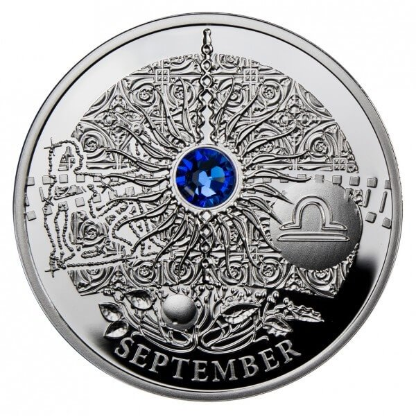 SEPTEMBER  The Magic Stones of Happiness  Proof silver Coin 1$ Niue 2013