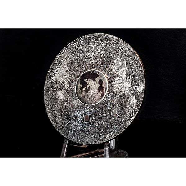 Cook Islands 2017 20$ Earths Satellite Moon Meteorite 3oz Antique finish Silver Coin