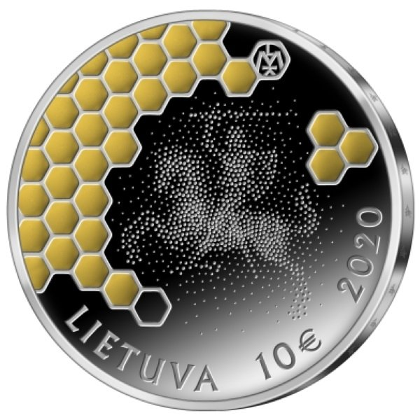 Tree Beekeeping Lithuanian Nature Proof Silver Coin 10 euro Lithuania 2020