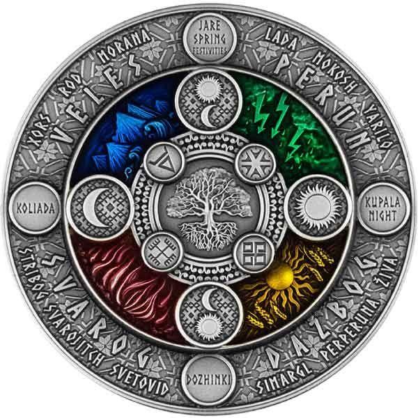 Slavic Calendar 2 oz Antique finish Silver Coin 2$ Niue 2020