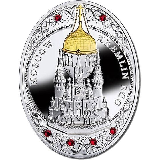 Moscow Kremlin Egg Imperial Faberge Eggs Proof Silver Coin 2$ Niue 2013