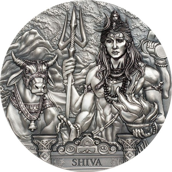 Shiva  Gods of the World 3 oz Antique finish Silver Coin 20$ Cook Islands 2020