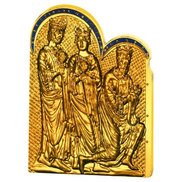 Cook Islands 2016 Shrine of the Three Holy Kings Masterpieces of Art Deluxe 3 oz Proof Silver Coin 20$  & Gold Coin 25$