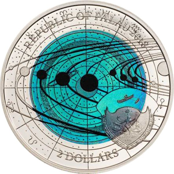 Solar System Uranus 6.7g Niobium + 8.3g Silver Proof Silver Coin Palau 2018 2$