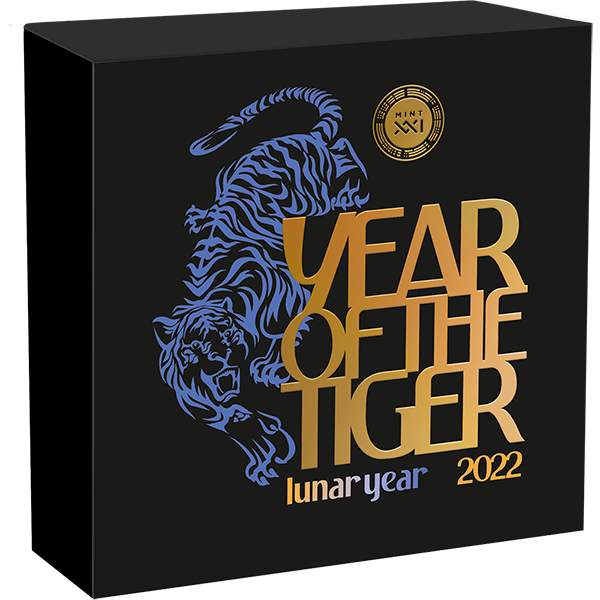 Year of the Tiger Lunar Year 50g Antique Finish Silver Coin 5 Cedis Republic of Ghana 2022