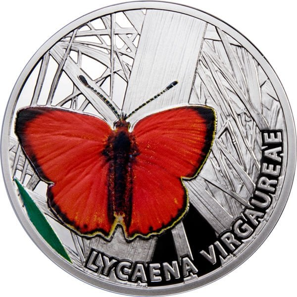 Niue 2010 1$ Scarce Copper Butterflies Proof Silver Coin
