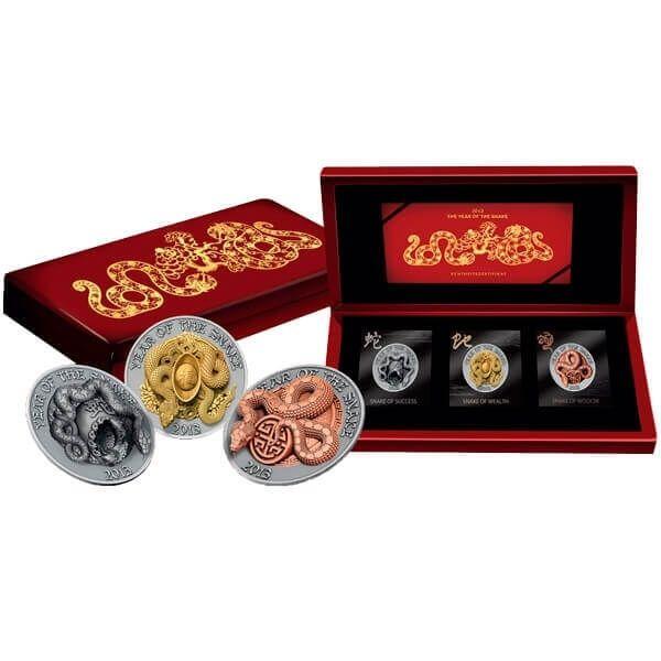 Three Dimensional Snake Coin Set BU Silver 3 x 500 Francs Rwanda 2013