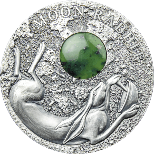Moon Rabbit 50 g Antique finish Silver Coin 2$ Niue 2021