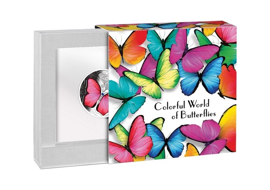 Red Butterfly Colorful World of Butterflies Proof Silver Coin 500 Francs Cameroon 2020