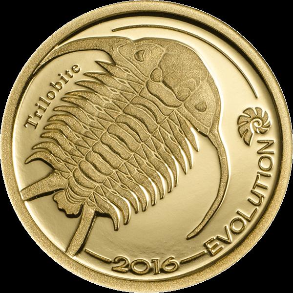 Mongolia 2016 1000 togrog Trilobite Evolution of Life 2016  Proof Gold Coin