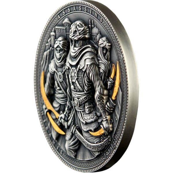 Assassins Nizaris 2 oz Antique Finish Silver Coin 5$ Niue 2019