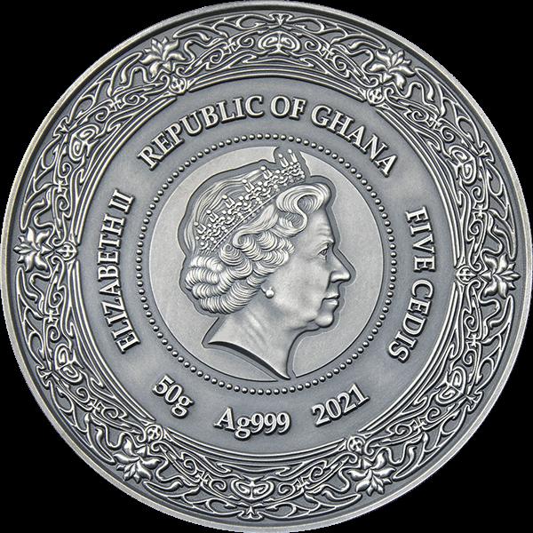 Eir Goddesses of Health 50 g Antique finish Silver Coin 5 Cedis Republic of Ghana 2021