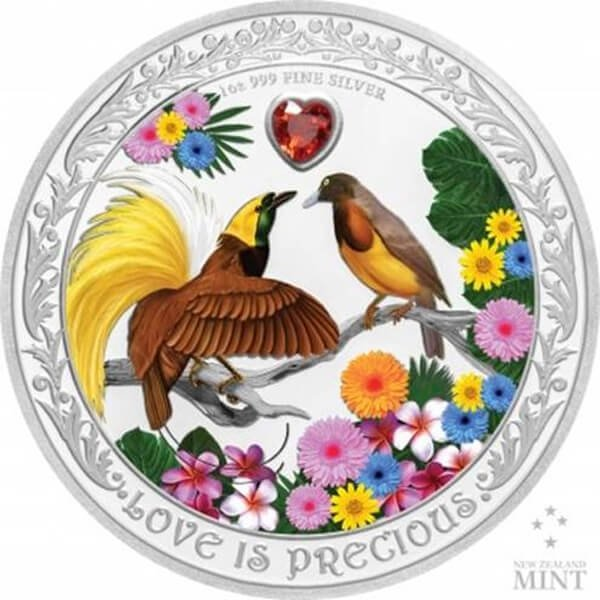 Love is Precious Birds of Paradise 1oz Proof Silver Coin 2$ Niue 2020