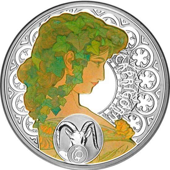 Niue 2010 1$ Capricorn A. Mucha Zodiac Proof Silver Coin