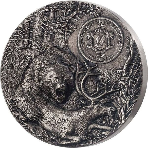 Grizzly Predators 3 oz Antique finish Silver Coin 5000 francs Ivory Coast 2020