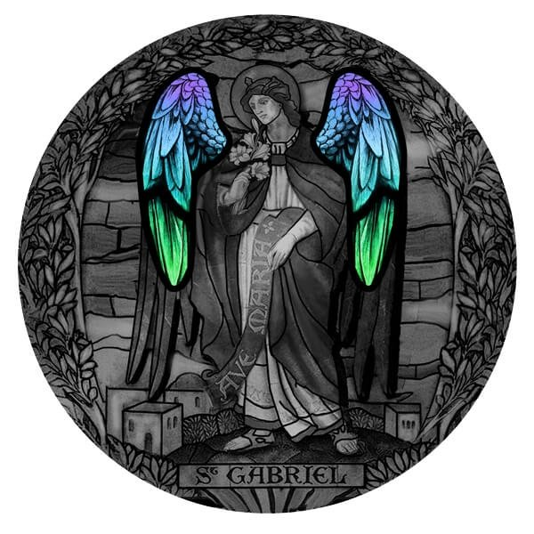 Archangel Gabriel Archangels  2 oz Antique finish Silver Coin 2000 Francs Cameroon 2020